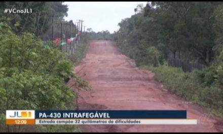 Sem asfalto, PA-430 prejudica economia e turismo na região de Maracanã