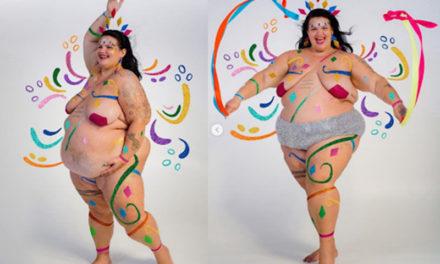 Thaís Carla surge nua e com pintura corporal em ensaio anti-gordofobia