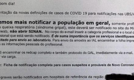 Secretaria da Saúde de SP orienta unidades de saúde a notificarem apenas casos graves de coronavírus