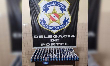 Frascos de álcool em gel adulterado são apreendidos em farmácias de Portel
