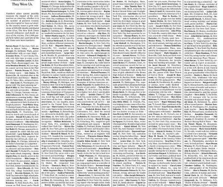The New York Times coloca nomes de mil vítimas da covid-19 na 1ª página