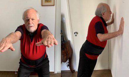"""Aos 87 anos, Ary Fontoura pratica exercícios em casa e brinca: """"A vida não é só comer doces"""""""