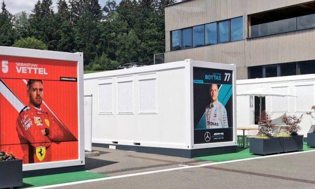 Para evitar coronavírus, F1 substitui motorhomes por módulos no GP da Áustria