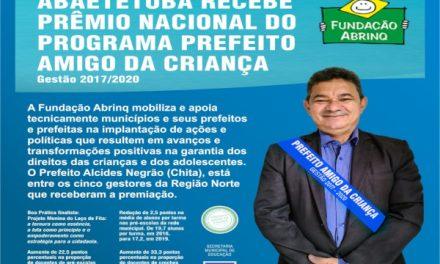 Abaetetuba recebe prêmio nacional do programa Prefeito Amigo da Criança