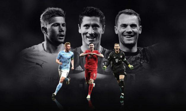 Lewandowski, Neuer e De Bruyne são os finalistas ao prêmio de melhor jogador da Europa