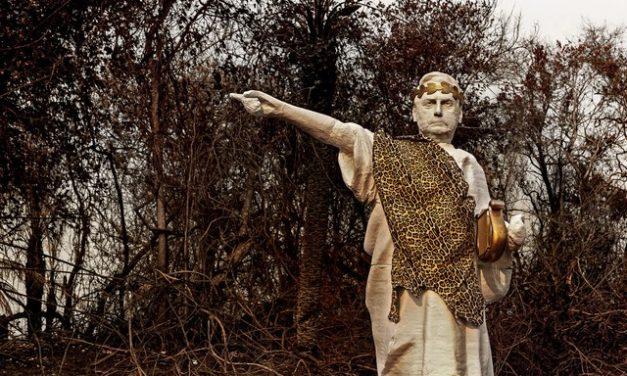 Ativistas do Greenpeace erguem estátua de Bolsonaro no Pantanal para protestarem contra queimadas
