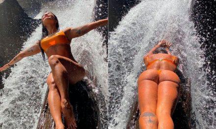 """Aline Riscado """"lava a alma"""" em cachoeira e a  web reage"""