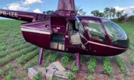 Helicóptero com 430 kg de cocaína é apreendido na área rural de Corumbataí do Sul, diz PF