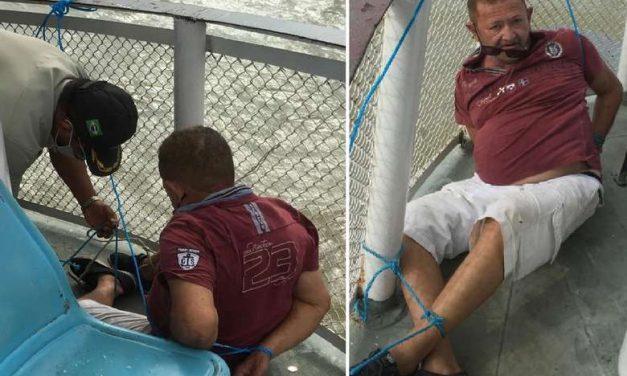 Ex-agente prisional é amarrado em embarcação após ser flagrado roubando celulares