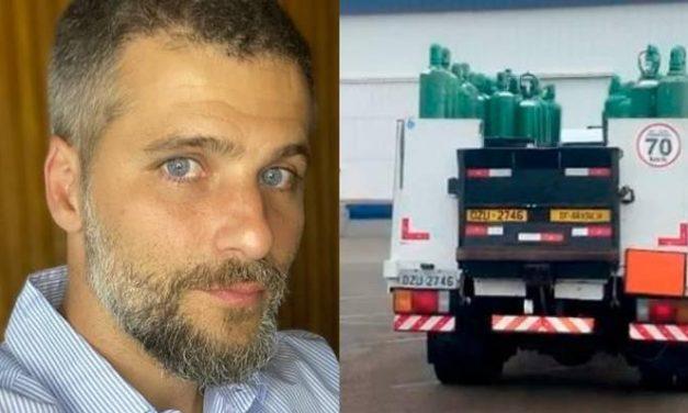 Bruno Gagliasso mostra cilindros de oxigênio sendo enviados para o Amazonas