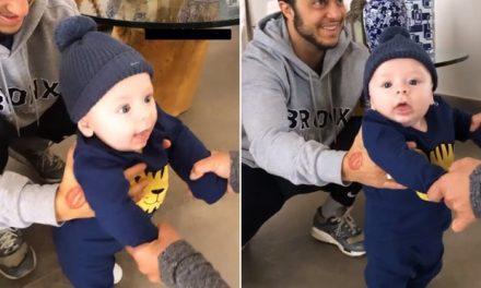 Thammy Miranda ajuda Bento a 'dar primeiros passos' aos quatro meses