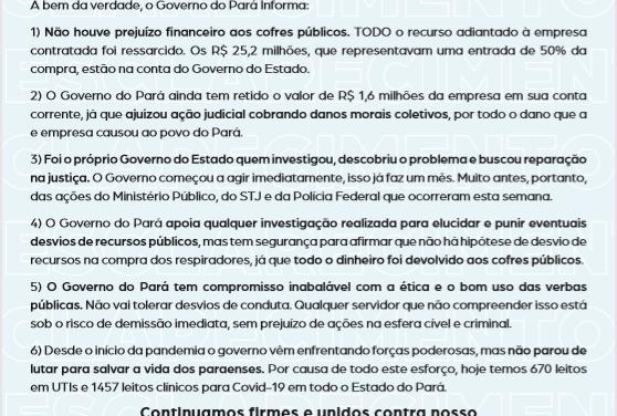 Governo do Pará publica nota sobre os respiradores