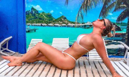 Patrícia Leitte retoca bronzeado com biquíni de fita adesiva e ostenta barriga chapada