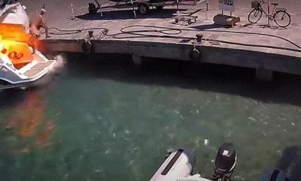 Barco explode e lança mulher ao mar; assista