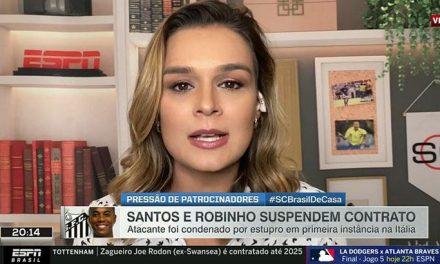 """Apresentadora da ESPN desabafa sobre Robinho: """"Soco no estômago"""""""