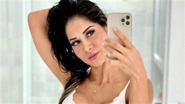 """Mayra Cardi sensualiza com lingerie branca e fãs enlouquecem: """"Maravilhosa demais"""""""