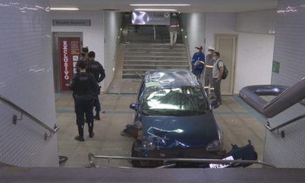 Motorista embriagado invade estação de metrô na Asa Sul, em Brasília; fotos