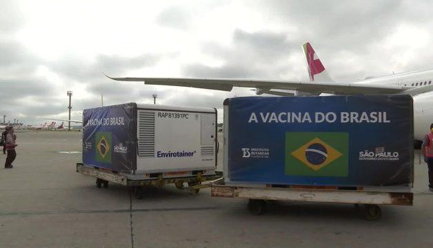 Novo lote de insumos para produção da CoronaVac chega a São Paulo