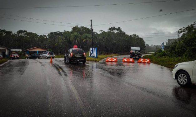 Segurança pública monta barreiras de orientação em Abaetetuba