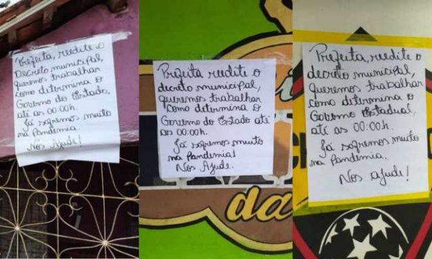 Protesto: Donos de bares cobram da Prefeitura de Moju reedição do último decreto com relação ao funcionamento dos bares