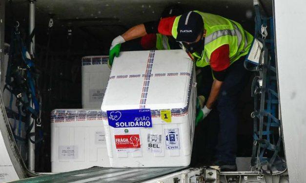 Pará recebe 9ª remessa com mais 286 mil doses de vacina contra Covid-19