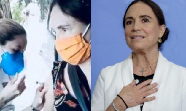 Defensora do tratamento precoce, Regina Duarte toma vacina contra Covid-19