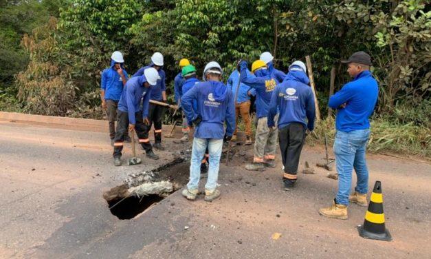 Após buraco surgir em cabeceira de ponte em Tailândia, Setran faz manutenção