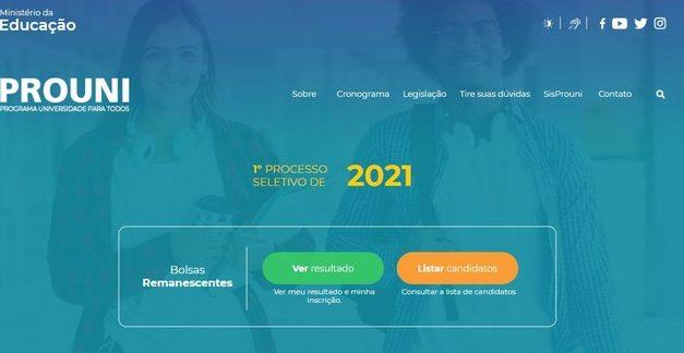 Prouni divulga aprovados em vagas remanescentes do 1º semestre de 2021