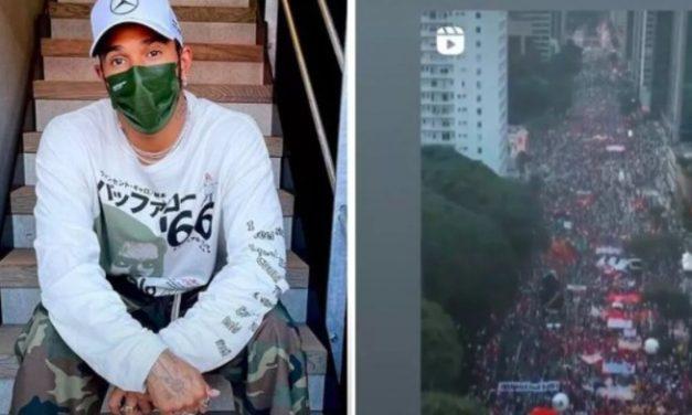 Lewis Hamilton posta vídeo a favor de manifestações contra Bolsonaro