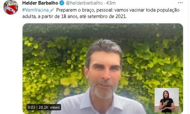 Governador do Pará anuncia que toda a população acima de 18 anos será vacinada até o final de setembro de 2021
