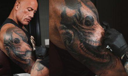 The Rock enfrenta processo de 30 horas para aprimorar tatuagem favorita no bíceps