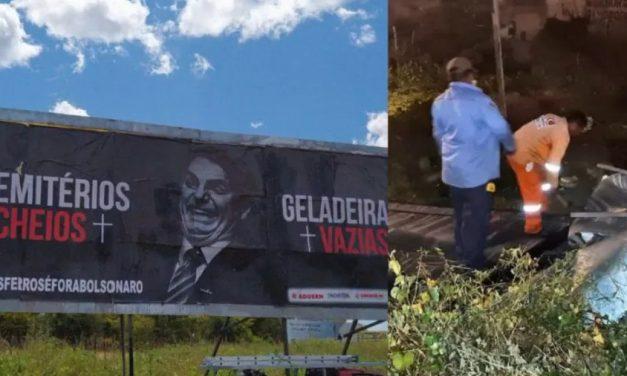 Servidores de órgão federal são usados para destruir outdoor anti-Bolsonaro