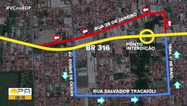 Dnit realiza interdição total do trecho de pista que cedeu próximo a Castanhal nesta sexta-feira