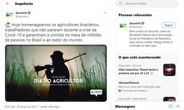 Governo Bolsonaro publica foto de homem armado para parabenizar o Dia do Agricultor