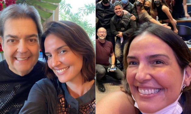 """Esposa de Faustão, Luciana Cardoso mostra bastidores do programa do apresentador na Band: """"Equipe nota mil"""""""