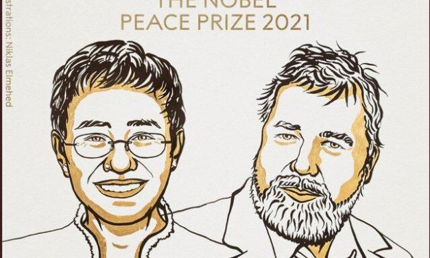 Nobel da Paz 2021 vai para os jornalistas Maria Ressa e Dmitry Muratov por defesa da liberdade de expressão